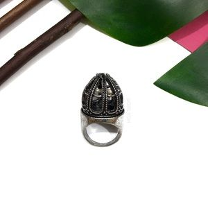 COPY - Silver Bird Cage Tarnished Statement Ring